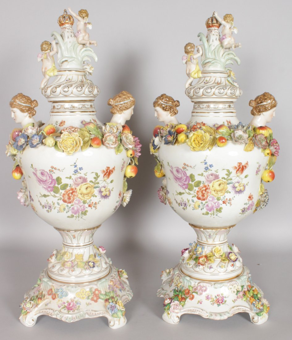 "A LARGE PAIR OF ""DRESDEN"" STYLE TWO HANDLED URNS, - 3"