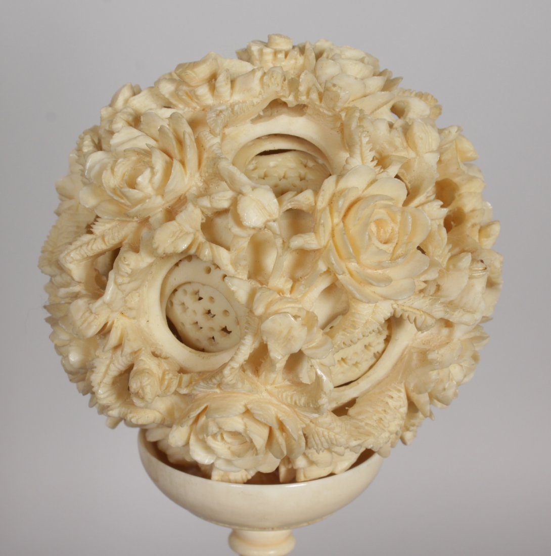 AN EARLY 20TH CENTURY CHINESE CARVED IVORY CONCENTRIC - 4