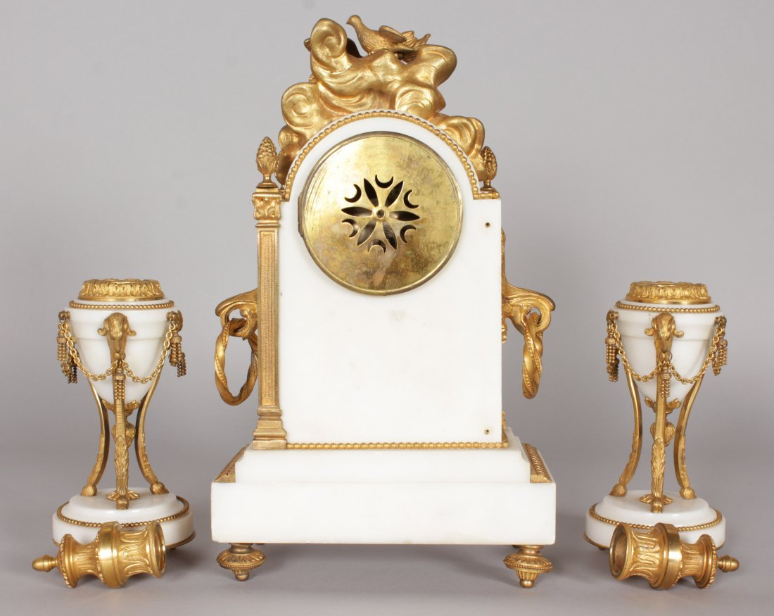 A GOOD FRENCH WHITE MARBLE AND ORMOLU THREE PIECE CLOCK - 5