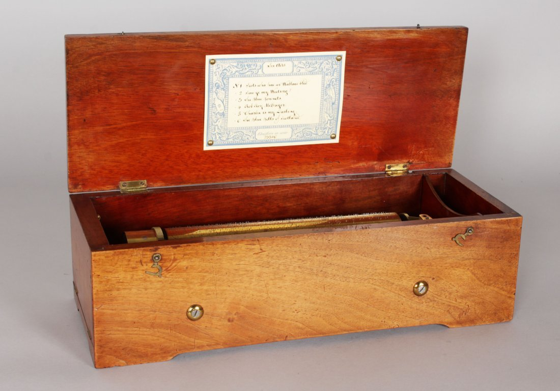 AN EARLY 19TH CENTURY SWISS MUSICAL BOX, playing six