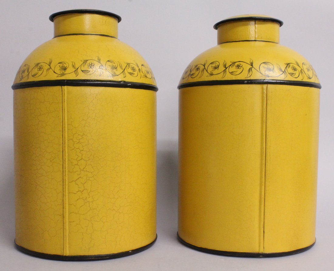 A PAIR OF YELLOW TOLEWARE TINS AND COVERS, decorated - 2