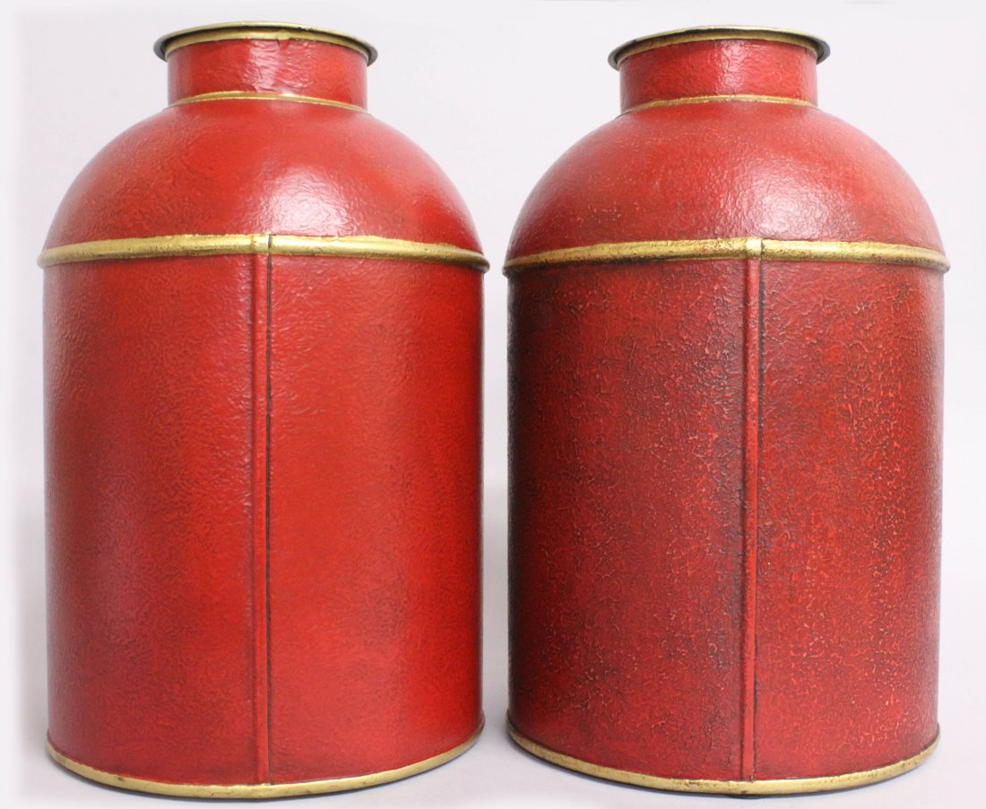 A PAIR OF RED TOLEWARE TINS AND COVERS, decorated with - 2