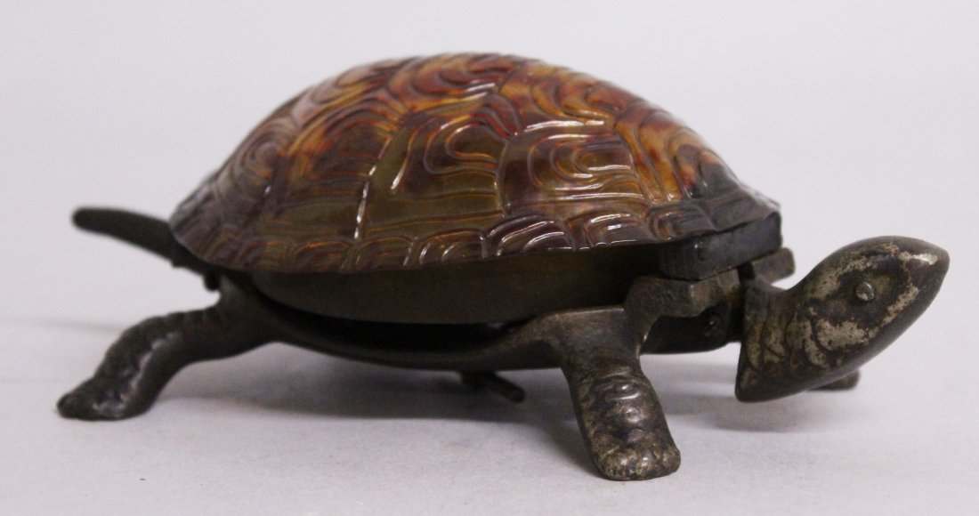 A GOOD BRONZE TURTLE TABLE BELL.  6ins long.