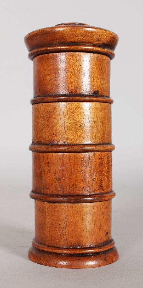 A TREEN FOUR DIVISION SPICE TOWER with labels, CLOVES, - 2