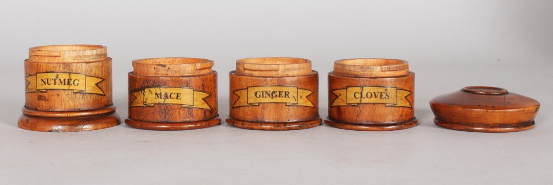 A TREEN FOUR DIVISION SPICE TOWER with labels, CLOVES, - 3