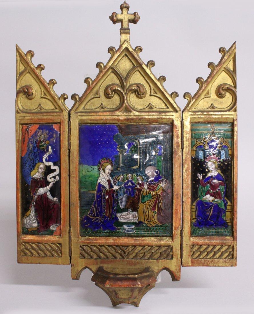 17TH-18TH CENTURY FRENCH ENAMEL THREE PIECE TRIPTYCH