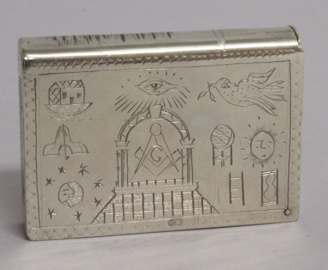 A MASONIC BOOK MATCH BOX, engraved Arch Cooper and