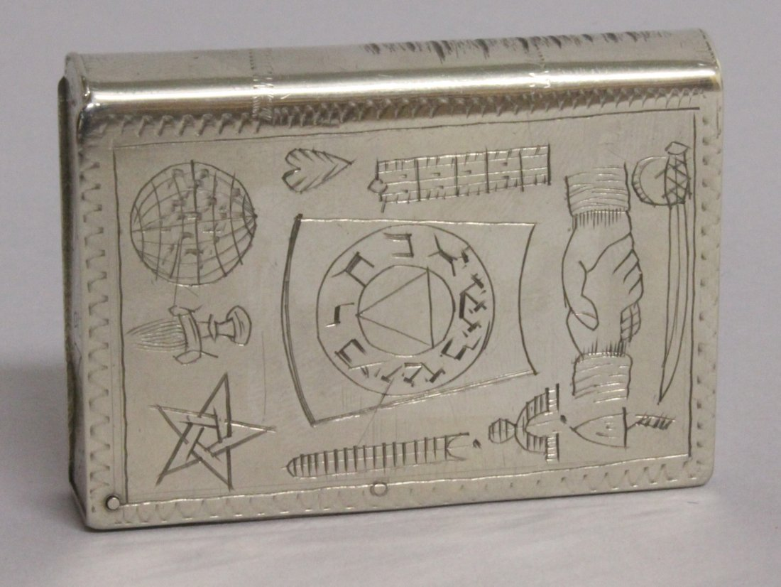 A MASONIC BOOK MATCH BOX, engraved Arch Cooper and - 2
