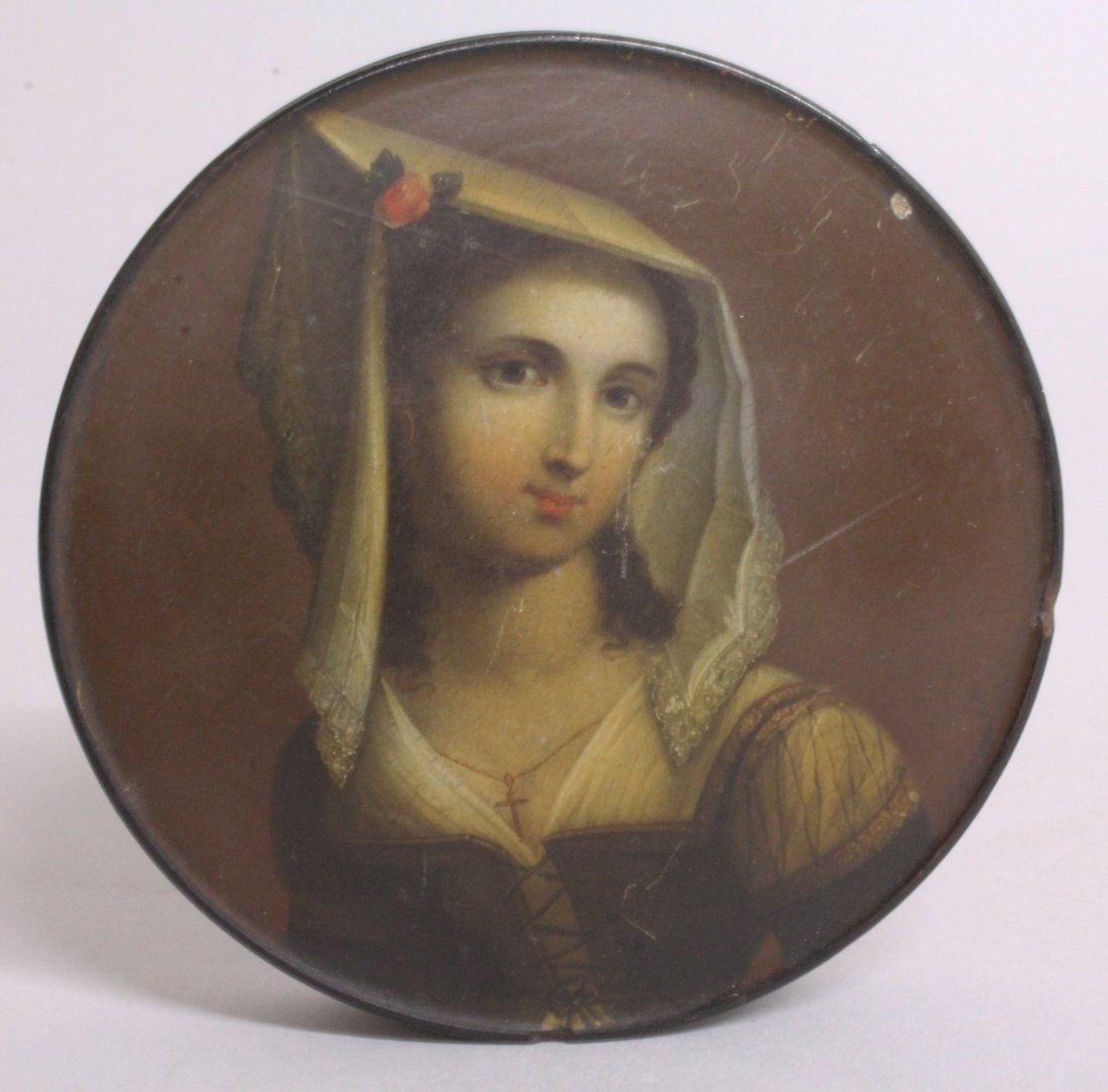A 19TH CENTURY CIRCULAR PAPIER MACHE BOX AND COVER, the