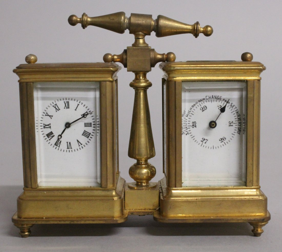 A DOUBLE MINI CARRIAGE CLOCK AND BAROMETER.