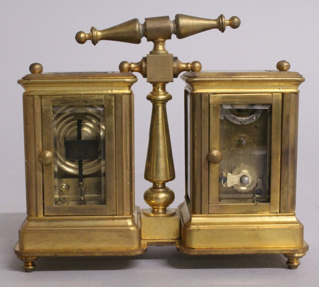 A DOUBLE MINI CARRIAGE CLOCK AND BAROMETER. - 2