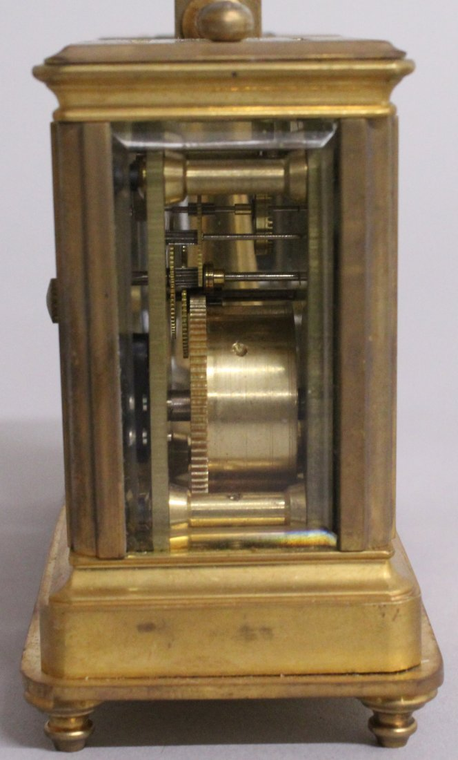 A DOUBLE MINI CARRIAGE CLOCK AND BAROMETER. - 3