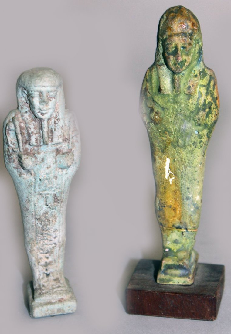 TWO EARLY EGYPTIAN SHABTI.  4.5ins and 4ins long.
