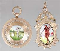 TWO 9CT YELLOW GOLD AND ENAMEL PENDANTS TENNIS AND