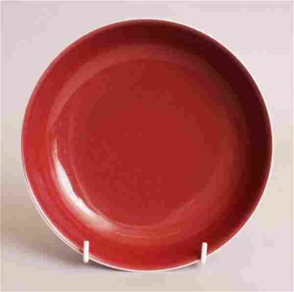 A GOOD QUALITY CHINESE COPPER RED PORCELAIN SAUCER