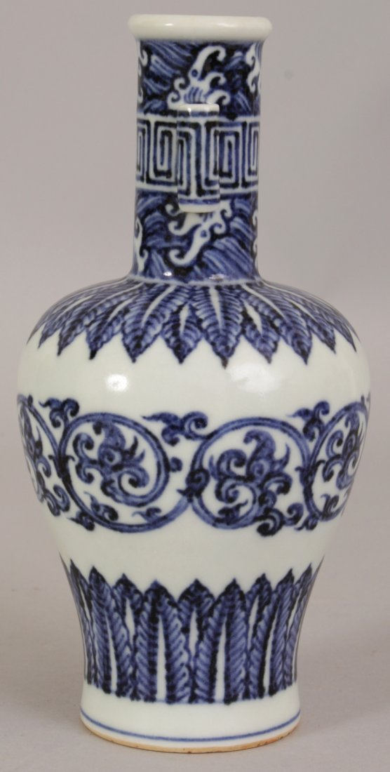 A CHINESE MING STYLE BLUE & WHITE PORCELAIN ARROW VASE, - 4