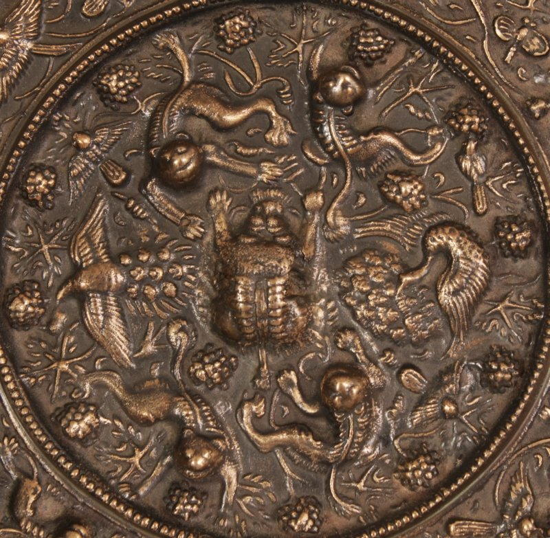 A PAIR OF CHINESE TANG STYLE SILVERED BRONZE CIRCULAR - 2