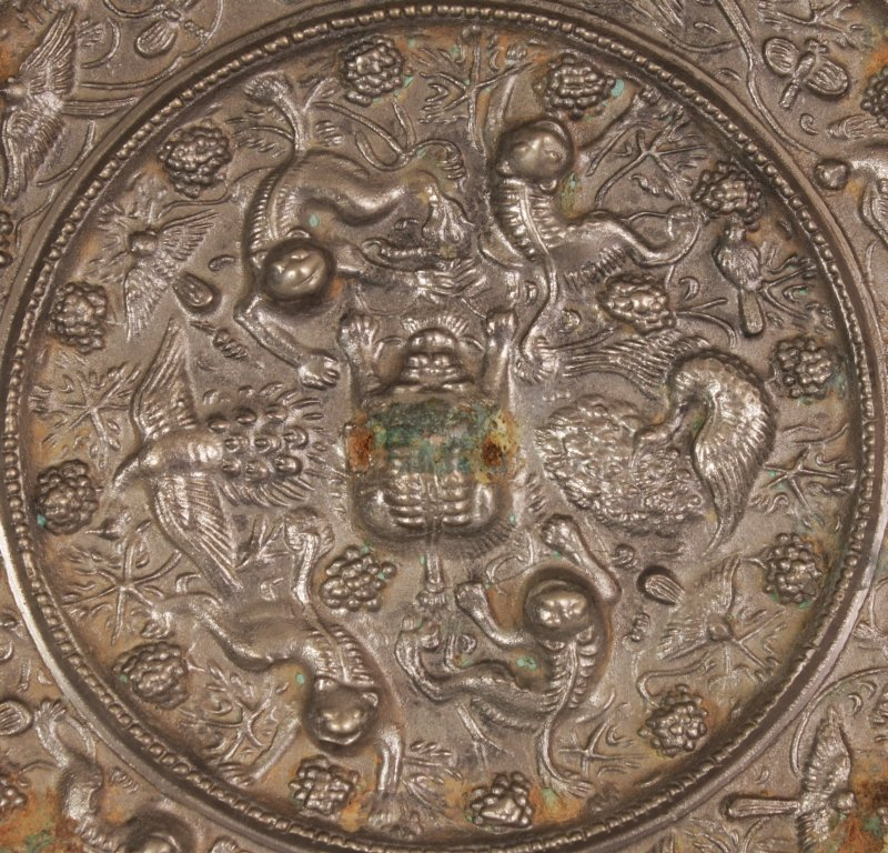 A PAIR OF CHINESE TANG STYLE SILVERED BRONZE CIRCULAR - 3