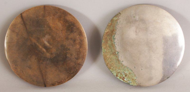 A PAIR OF CHINESE TANG STYLE SILVERED BRONZE CIRCULAR - 4