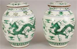 A PAIR OF GOOD QUALITY CHINESE GREEN ENAMELLED DRAGON