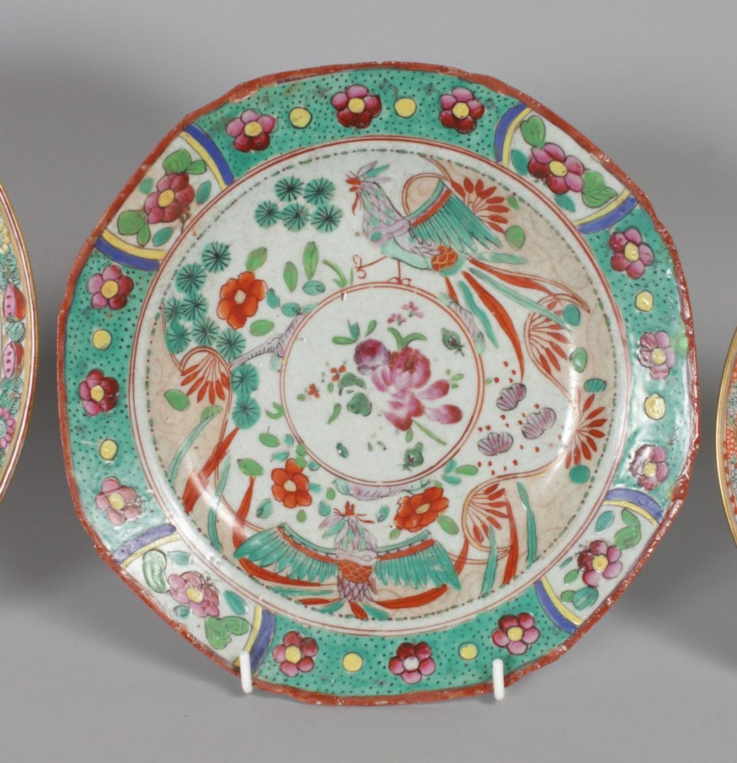FOUR VARIOUS CHINESE PLATES AND A SAUCER. - 4