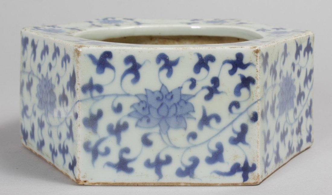 A CHINESE BLUE AND WHITE HEXAGONAL BRUSH POT.  7ins.
