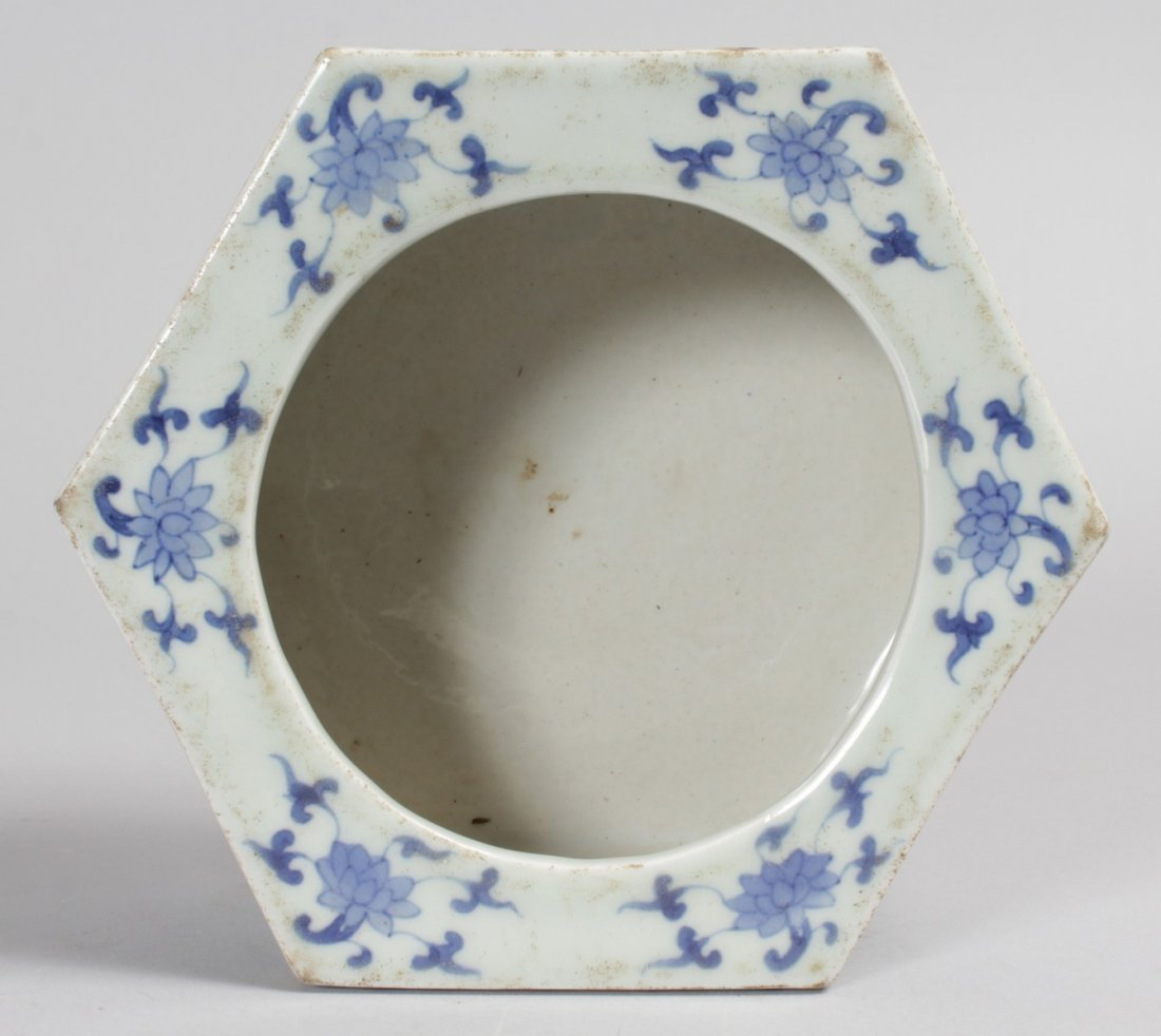 A CHINESE BLUE AND WHITE HEXAGONAL BRUSH POT.  7ins. - 2