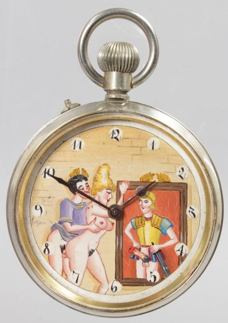 A LARGE EROTIC POCKET WATCH.