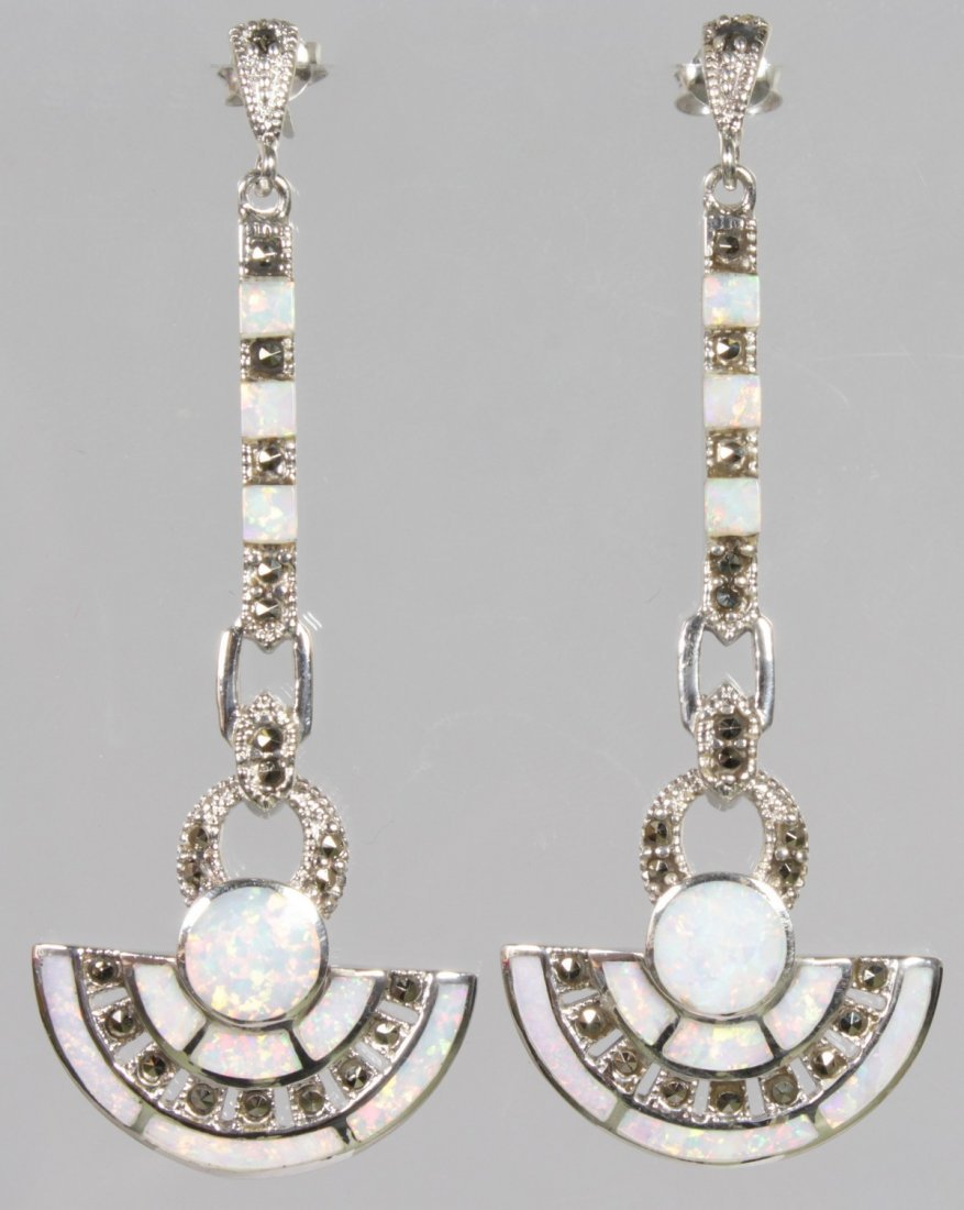 A PAIR OF GILSON OPAL AND SILVER DROP EARRINGS.