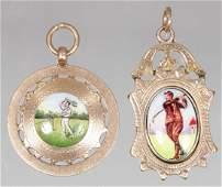 TWO 9ct YELLOW GOLD AND ENAMEL PENDANT TENNIS AND