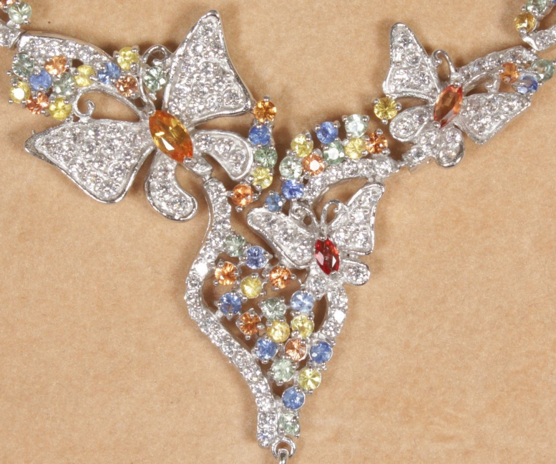 A LOVELY SILVER BUTTERFLY PENDANT set with coloured - 2