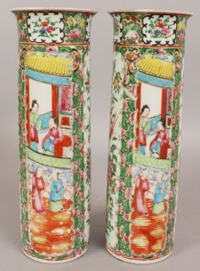 A PAIR OF 19TH/20TH CENTURY CHINESE CANTON CYLINDRICAL