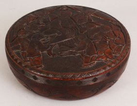 AN EARLY 20TH CENTURY SIGNED CHINESE CIRCULAR WOOD BOX