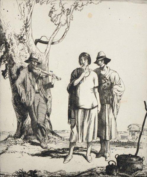 """Edward Herbert Whydale (1886-1952) British. """"Gypsies"""","""