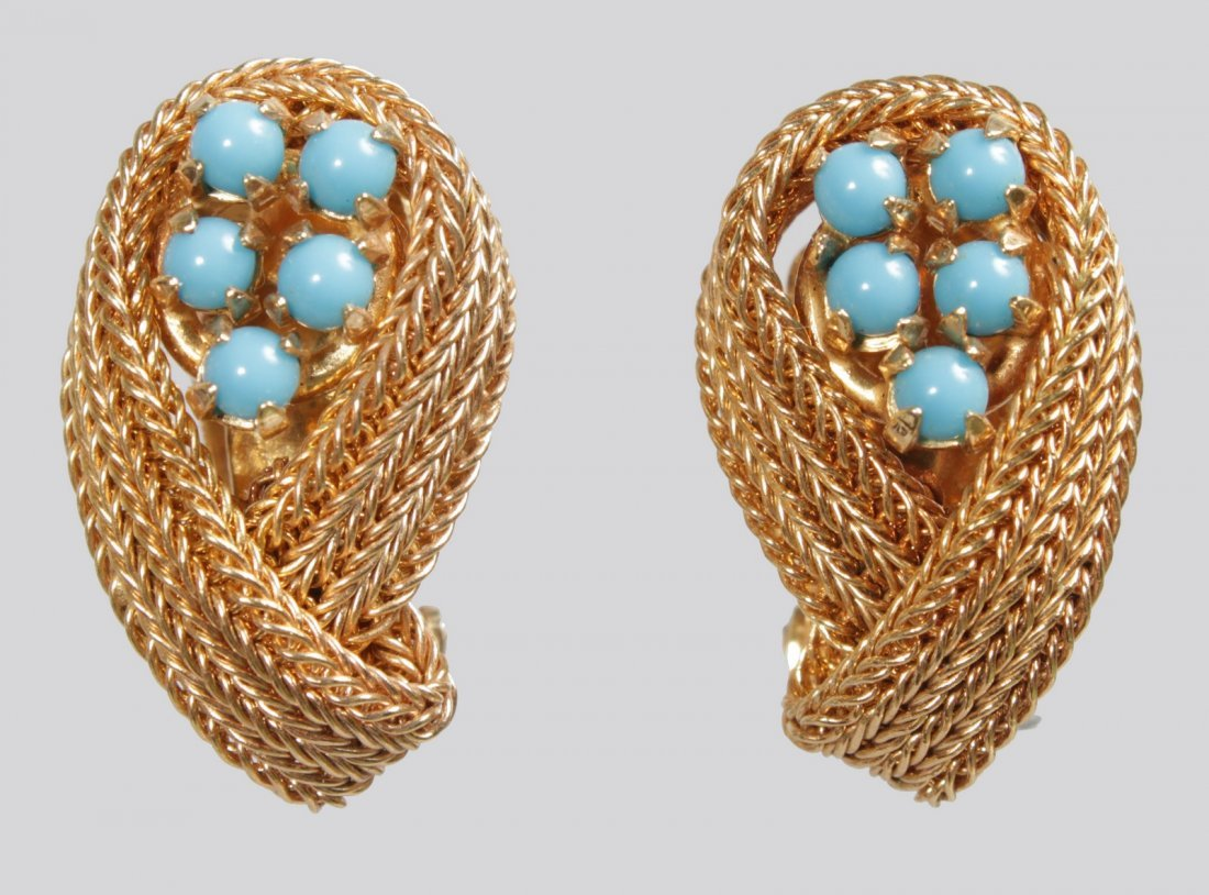 A PAIR OF CHRISTIAN DIOR 1959 GILT AND TURQUOISE SCROLL