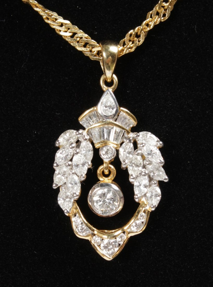 A LOVELY 18CT YELLOW GOLD AND DIAMOND PENDANT and A
