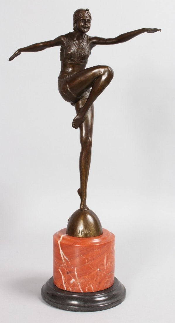 AFTER J. PHILIPP, A BRONZE DANCER.  Signed, on a