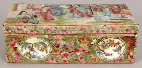 A 19TH CENTURY CHINESE CANTON RECTANGULAR PORCELAIN