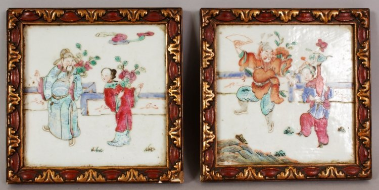 A PAIR OF LATE 19TH CENTURY LACQUER FRAMED CHINESE