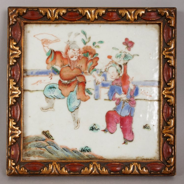 A PAIR OF LATE 19TH CENTURY LACQUER FRAMED CHINESE - 2