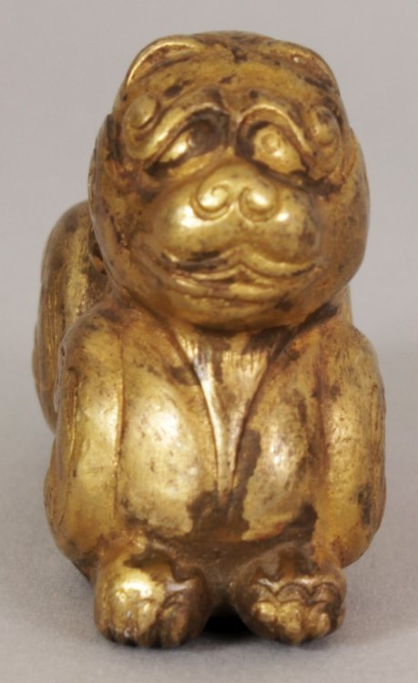 A SMALL CHINESE HAN STYLE GILT BRONZE MODEL OF A - 2