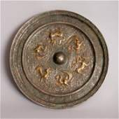 A GOOD GILDED  SILVERED CHINESE TANG DYNASTY BRONZE