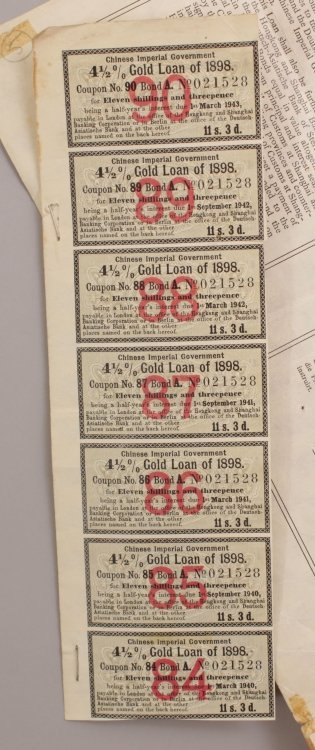 A CHINESE IMPERIAL GOVERNMENT GOLD LOAN BOND 1898, £25 - 9