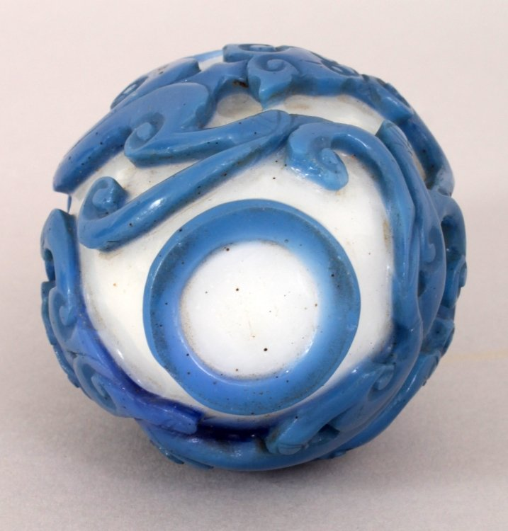 A GOOD 18TH/19TH CENTURY CHINESE BLUE OVERLAY GLASS - 6