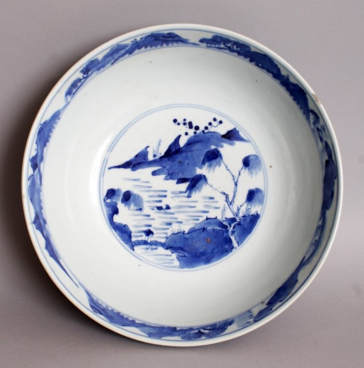 A 19TH CENTURY CHINESE BLUE & WHITE PORCELAIN BOWL, the - 5