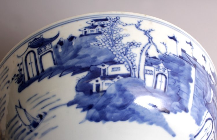 A 19TH CENTURY CHINESE BLUE & WHITE PORCELAIN BOWL, the - 9