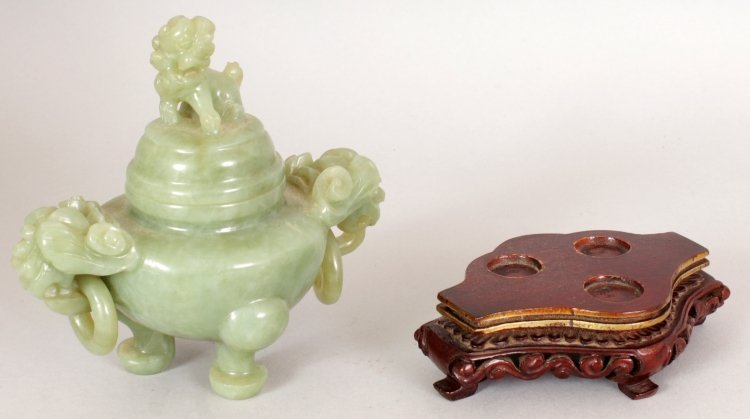 A 20TH CENTURY CHINESE GREEN BOWENITE TRIPOD CENSER & - 5