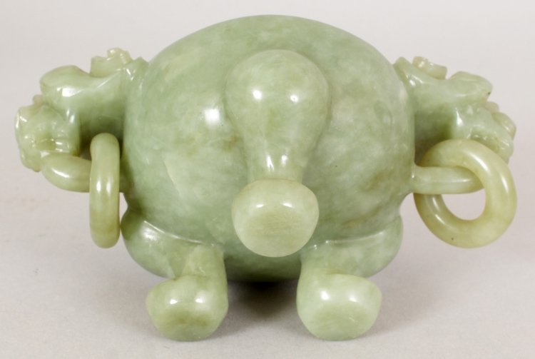 A 20TH CENTURY CHINESE GREEN BOWENITE TRIPOD CENSER & - 6