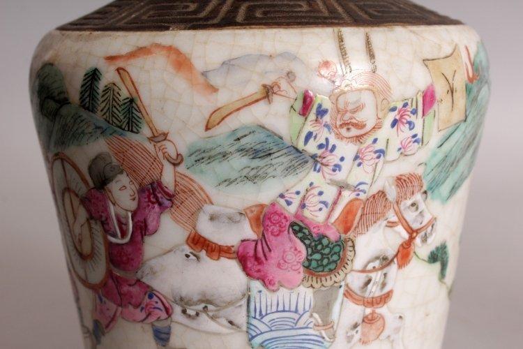 A PAIR OF CHINESE FAMILLE ROSE CRACKLEGLAZE PORCELAIN - 9