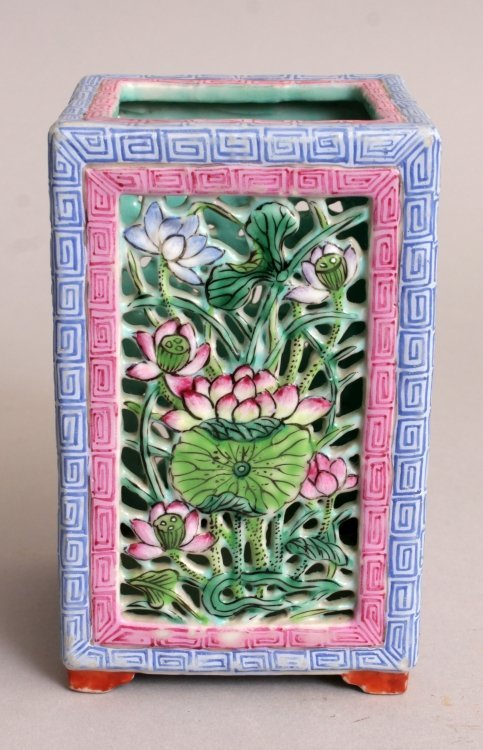 A GOOD QUALITY 19TH CENTURY CHINESE RETICULATED SQUARE